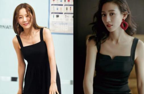 当金泰妍和张钧甯同穿黑色吊带裙,才知道什么叫气质!