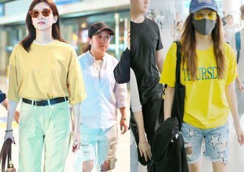 江疏影关晓彤同穿黄色T恤,你觉得谁赢了?