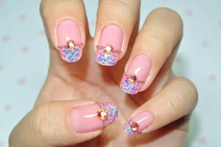 粉色美甲温柔闪亮,两款diy简单教程