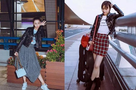 2018秋冬时髦造型,皮衣混搭裙子,美得很高级