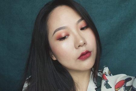 单眼皮女生的春季眼妆,棕红色桃花妆最为靓丽