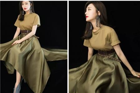 秦岚优雅时尚大片,墨绿色长裙演绎白月光形象