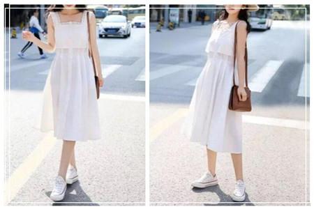 夏季绝妙搭配之小白鞋和裙装的穿搭,美女都会这么穿