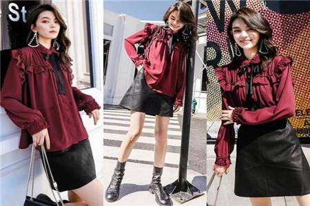 酒红衬衫和裙装的搭配技巧 四款裙子搭配法