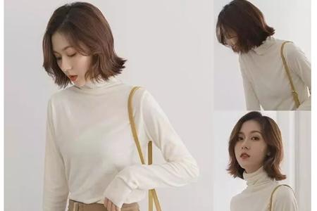 齐下巴长度的女士时尚短发,好看的烫发发型图片