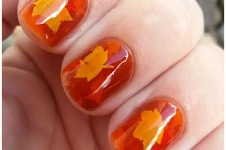 适合秋天的网红美甲图案,简单步骤教程图片