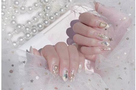 水晶时尚美甲,日系透明手指图案图片大全