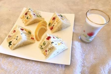 最简单三明治的做法,食材多当早餐营养丰富